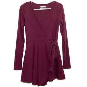 Urban Outfitters Burgundy Faux Wrap Dress Romper